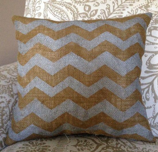 Burlap Pillow  Chevron Burlap Pillow  Custom by TwoPeachesDesign, $35.00
