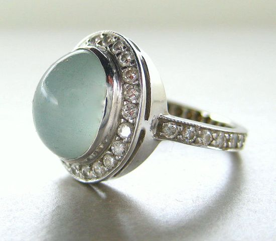 Estate. 14k White Gold, Aquamarine and Diamond Ring.