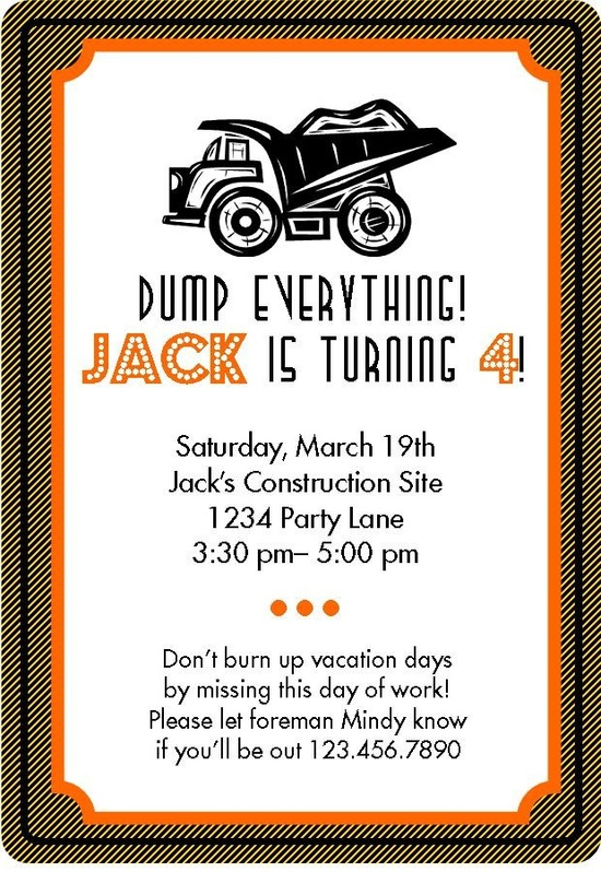 invites for construction party