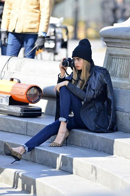 Cara Delevingne on the set of her new DKNY campaign