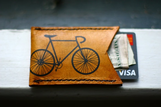Bike Screenprint Leather Card Wallet in Antique Tan printed with Black ink