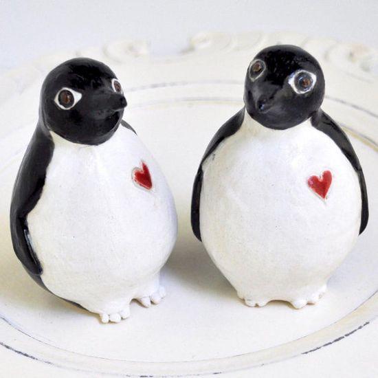 Penguin wedding cake topper #dental #poker