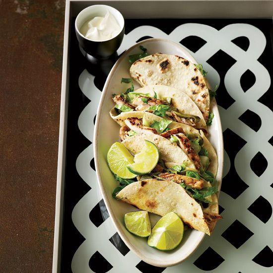 Chicken & Poblano Tacos with Crema // More Amazing Taco Recipes: www.foodandwine.c... #foodandwine