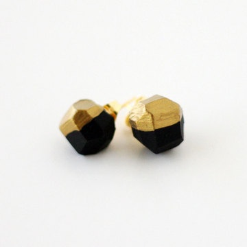 Gold Dipped Earrings Black by AMM Jewelry