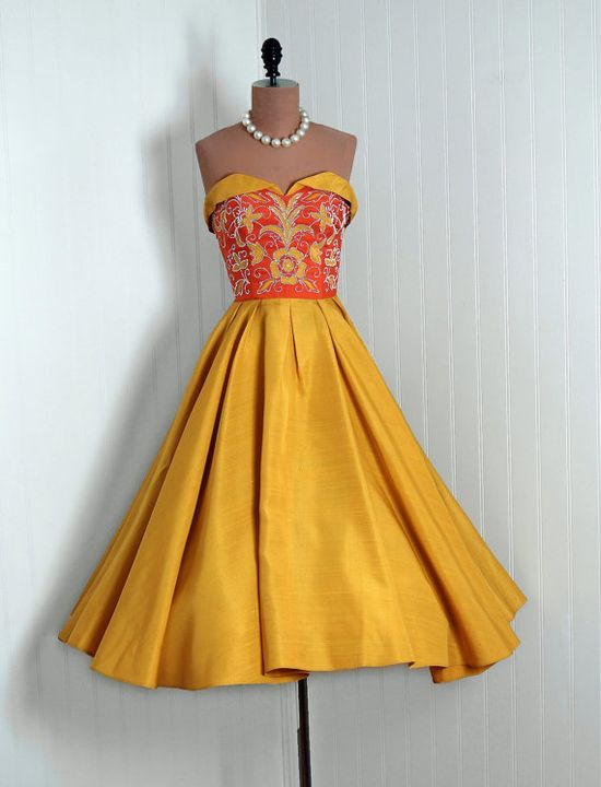 Party Dress: 1950's, floral-appliqued silk, petal-bust sweetheart neck bodice, plated circle skirt.