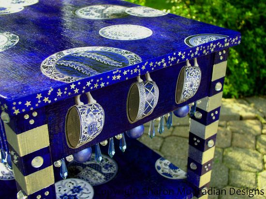 Hand Painted Whimsical Table Blue Willow Motif by sharonmooradian...love the added jewels and balls