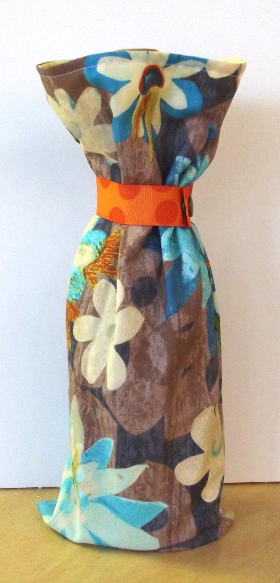 Floral Wine Bag Handmade Gift Bag Reusable by SoraCreations, $6.75