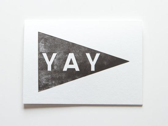 Yay pennant black - letterpress greeting card via Etsy