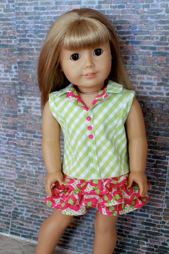 Trendy strawberry print DRESS for American Girl by closet4chloe, $22.00