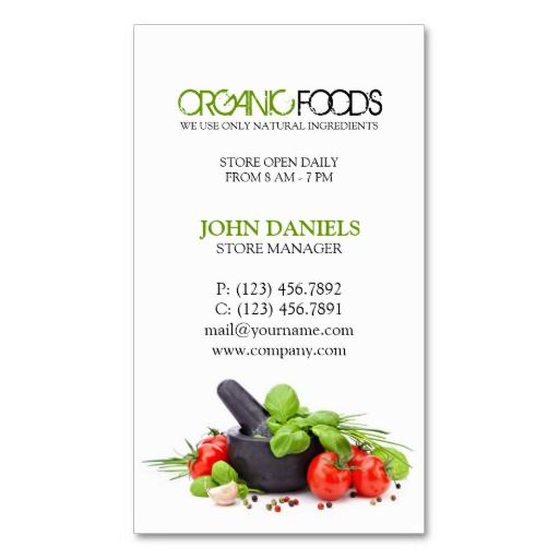 SOLD! Natural Organic Health Food Store Business Card