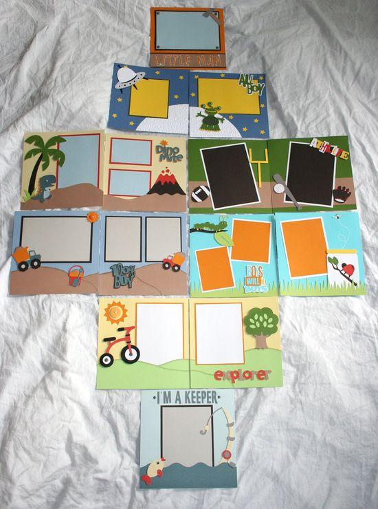 All Boy Pre-Made 8 x 8 Scrapbook, Baby, Toddler.