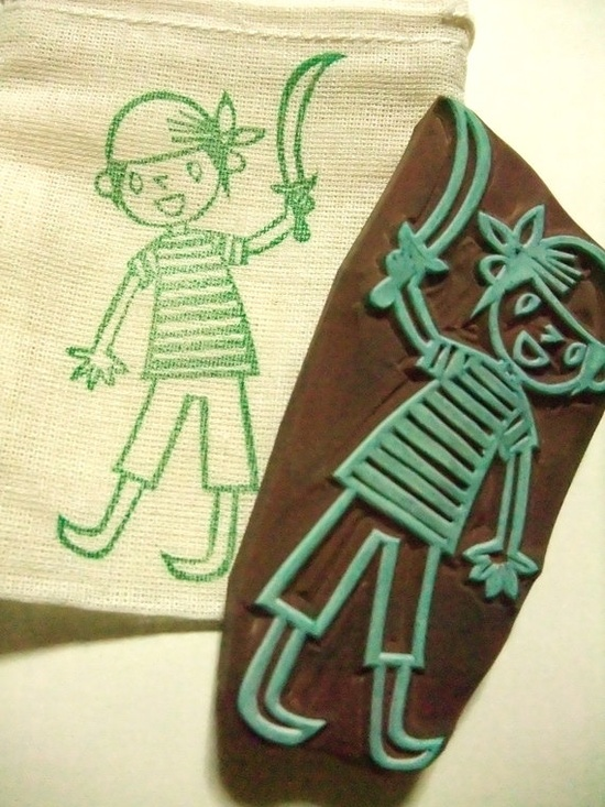 PIRATES -hand carved rubber stamp