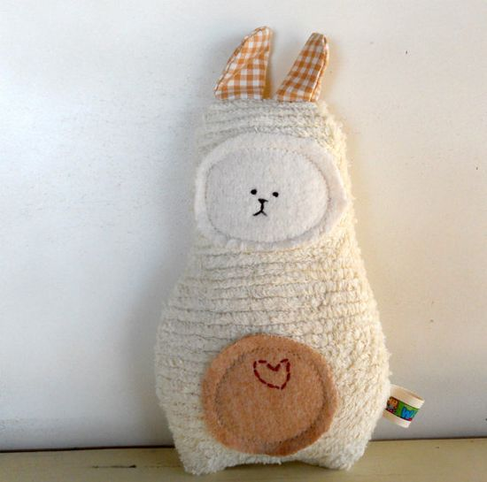 Waldorf Toy, Eco Kids Toy, Soft Bunny Rabbit Doll,  Plush, Natural, Eco-Friendly Baby Shower Toy