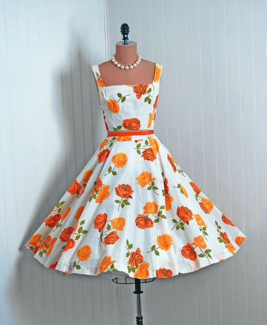 1950's Vintage Orange-Yellow Roses Floral-Garden Print Cotton-Couture Low-Cut Sleeveless Ballerina-Cupcake Full Circle-Skirt Swing Sun Dress