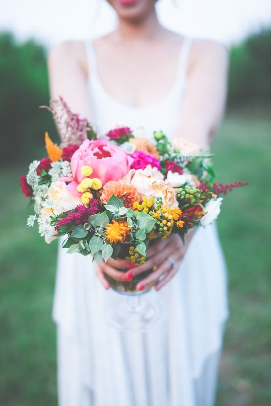 bright spring bouquet // photo by One Summer Day // flowers by Petals & Hedges // styling by Ashlee Virginia Events // view more: ruffledblog.com/...