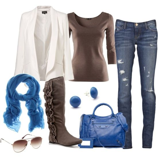 Blue and Brown Casual - Polyvore