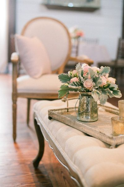 romantic decor in ivory and blush tones