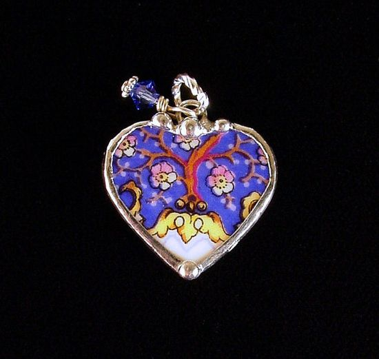 """Heart charm 1"""" made from a broken antique porcelain plate. by Dishfunctional Designs"""