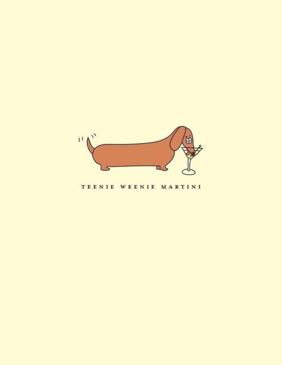 Teenie Weenie Martini  Happy Birthday Dachshund card by ShesSOCreative, $4.00