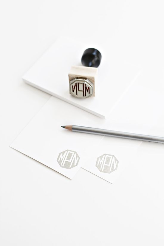 Custom monogram handled rubber stamps. Besotted Brand, via Etsy, awesome gift~~