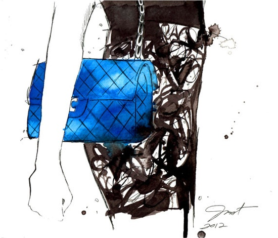 Print from original watercolor and pen fashion illustration by Jessica Durrant titled, Go Get Your Chanel. via Etsy.