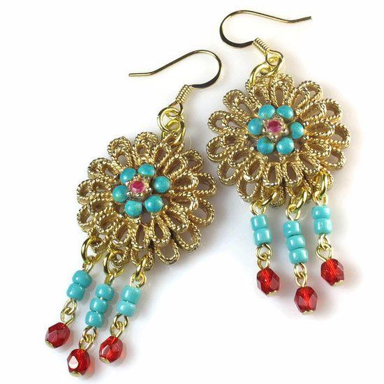 Filigree Earrings, Repurposed Jewelry, Red Turquoise, Boho Earrings, Tribal
