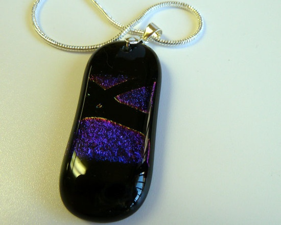 Mystic Fused Glass Pendant Black with Dichroic by ArtBoxDesign, $25.00