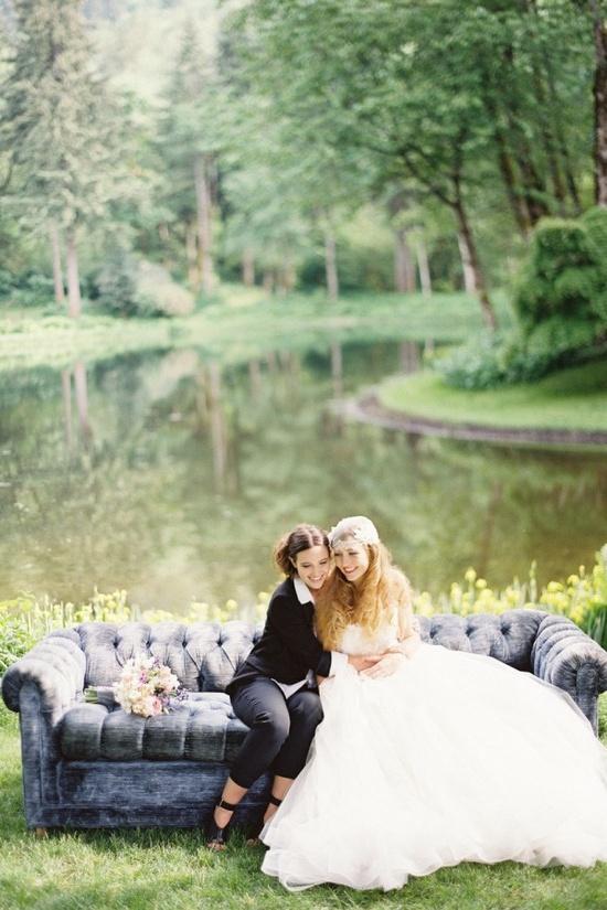 stunning same-sex wedding photo shoot via Style Me Pretty