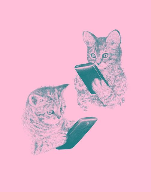 Kittens Texting by Laser Bread, via Flickr