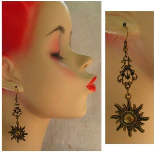 Burnished Gold Celtic Sun Dangle Earrings Handmade Jewelry Accessories Fashion