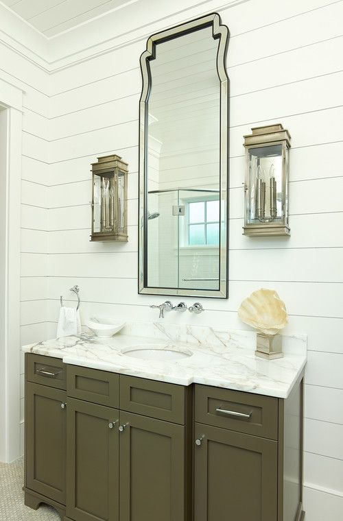army green vanity, stepped depths sconces