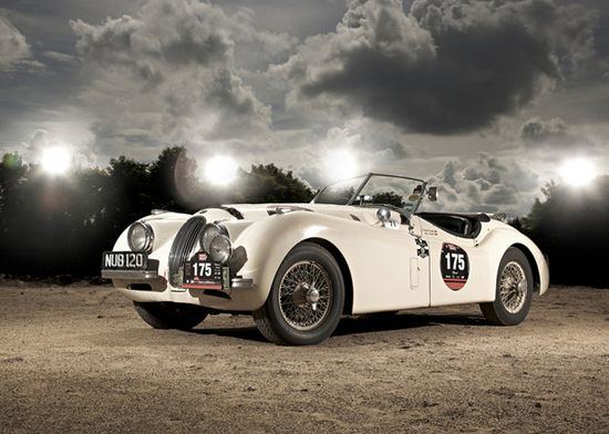 Jaguar XK120  XK120 is an old vintage sports car first introduced by Jaguar in 1948 after it's predecessor Jaguar SS100. The number 120 attached to the model name represent the top speed (120 mph) and XK120 was the fastest car ever made at it's time.
