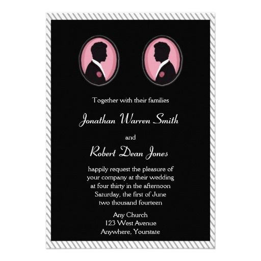 Painted Groom Silhuettes Gay Wedding Invitation