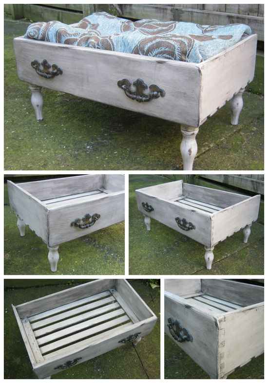Repurposed dresser drawer into Pet Bed