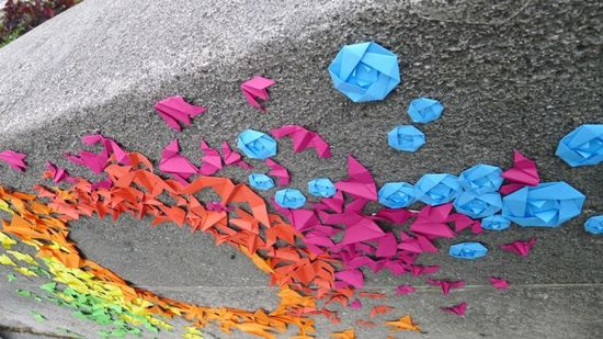 Origami street art on the streets of Paris
