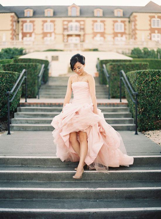 Blush Vera Wang Engagement Shoot photo by caroline tran #wedding #dress #pink #blush