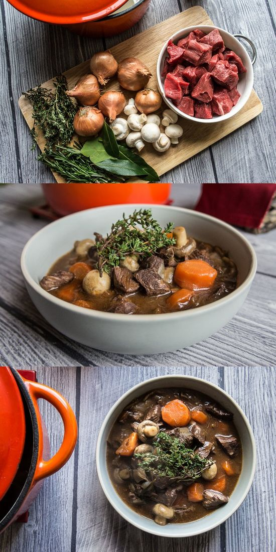 Beef bourguignon - Beef braised in red whine with shallots, rosemary, thyme, bay leaves, mushrooms and carrots.