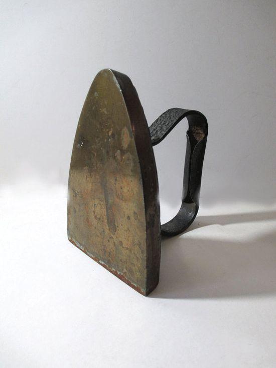 Antique Brass Base Sad Iron  Cast Iron  by UrbanRenewalDesigns, $23.00