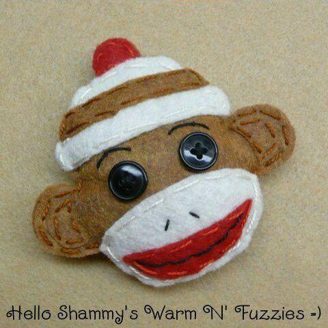 SOCK MONKEY Christmas Ornament by HelloShammys on Etsy, $6.00