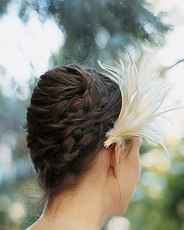 A light-as-a-feather hairpiece for a braided updo