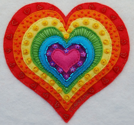 Beautiful heart w. embroidery and embellishment