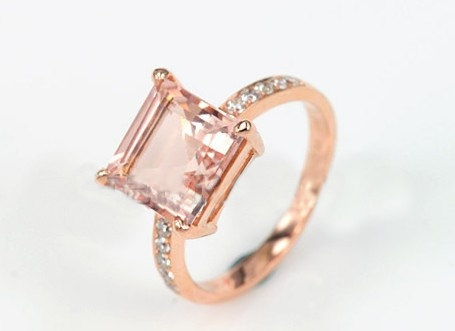 Engagement Ring  2 Carat Morganite Ring With by stevejewelry, $499.00