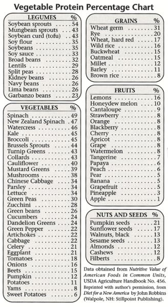 Vegetable Protein Percentage Chart