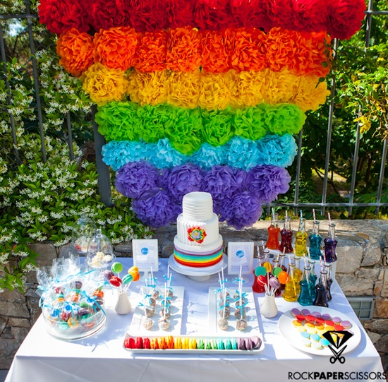 Dessert table // Kids rainbow party by RockPaperScissors (www.rpsevents.)