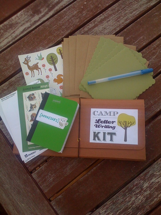 A letter-writing kit for my nephew who is going to overnight camp for the first time this summer!