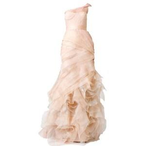 Ruffels ivory sexy wedding dress