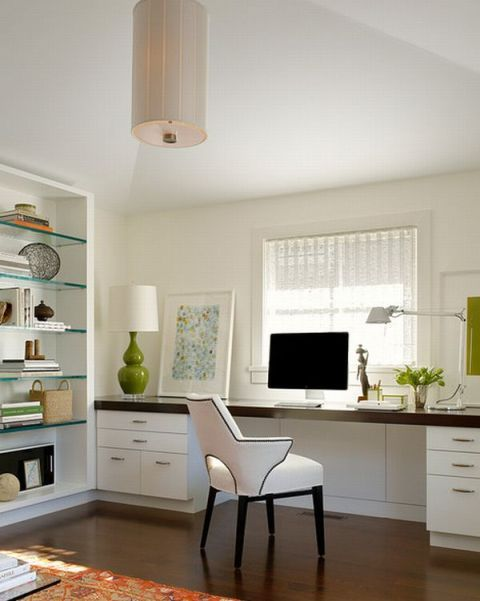 Home Office Design Ideas. White and warm wood tones. Nice balance!