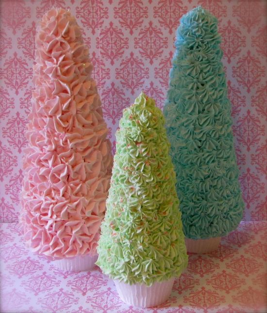 "DIY foam Xmas trees, use deco-den silicone ""icing"" and just find a base and glue on a cupcake wrapper. Repinned from Vital Outburst clothing vitaloutburst.com"