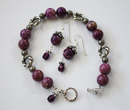 Purple Jasper and Amethyst EarringsBracelet by JustforJoyCreations, $25.00 #EARRINGS #BRACELET #SET #PURPLE #GIFT #HOLIDAY #CHRISTMAS #GIF FO HER