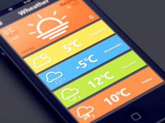Weather by career #UX #UI #interface #design #app #iphone